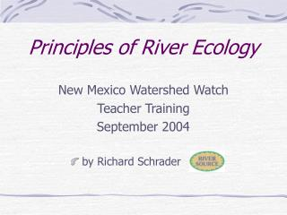 Principles of River Ecology