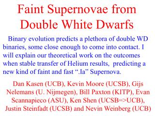 Faint Supernovae from Double White Dwarfs