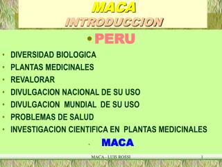 MACA  INTRODUCCION