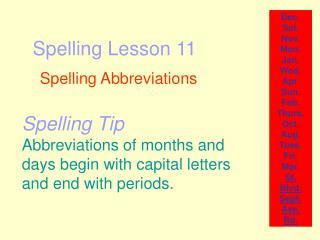 Spelling Lesson 11