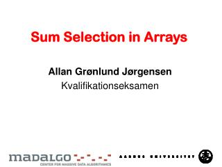 Sum  Selection  in Arrays