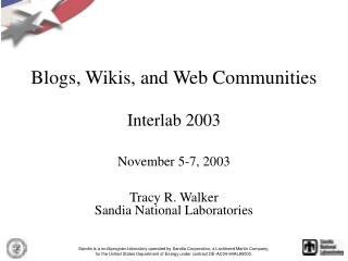 Blogs, Wikis, and Web Communities