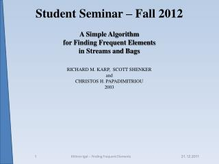 Student Seminar – Fall 2012