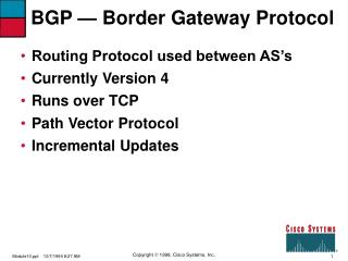 BGP —  Border Gateway Protocol