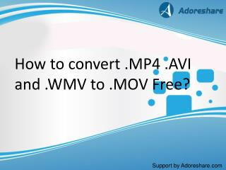 Convert .MP4 .AVI and .WMV to iMovie .MOV without quality