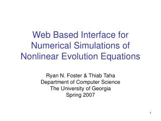 Web Based Interface for Numerical Simulations of Nonlinear Evolution Equations