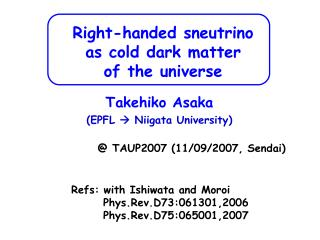 Right-handed sneutrino  as cold dark matter  of the universe
