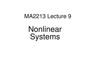 MA2213 Lecture 9