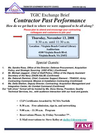 Contractor Past Performance How do we get back to where we were supposed to be all along?