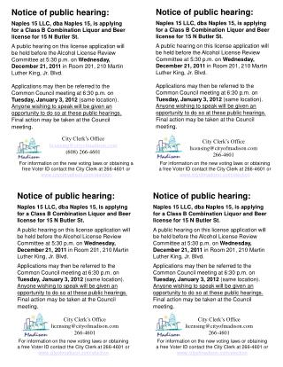 Notice of public hearing: