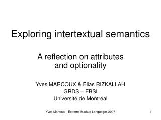 Exploring intertextual semantics