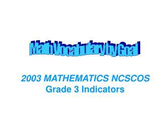 2003 MATHEMATICS NCSCOS Grade 3 Indicators