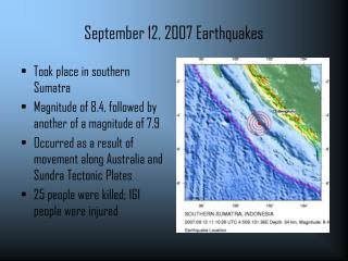 September 12, 2007 Earthquakes