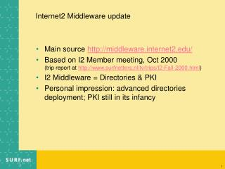 Internet2 Middleware update