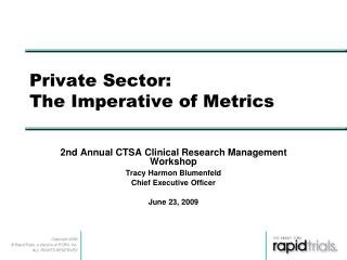 Private Sector:  The Imperative of Metrics