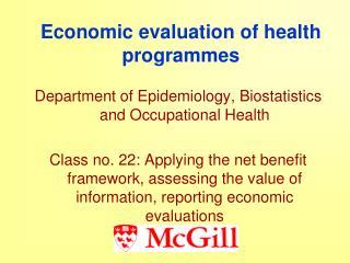 Economic evaluation of health programmes