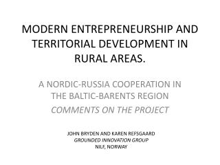MODERN ENTREPRENEURSHIP AND TERRITORIAL DEVELOPMENT IN RURAL AREAS.