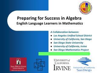 Preparing for Success in Algebra English Language Learners in Mathematics