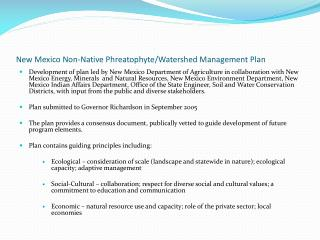 New Mexico Non-Native Phreatophyte/Watershed Management Plan