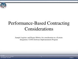 Performance-Based Contracting Considerations