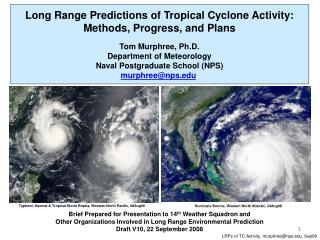 Long Range Predictions of Tropical Cyclone Activity: Methods, Progress, and Plans
