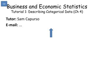 Business and Economic Statistics Tutorial 1: Describing Categorical Data ( Ch  4)