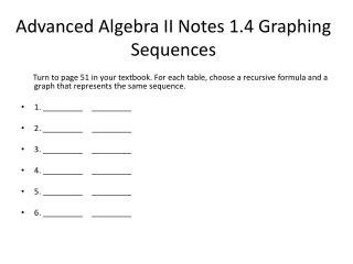 Advanced Algebra II Notes 1.4 Graphing Sequences