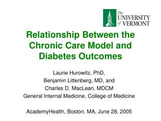 Relationship Between the Chronic Care Model and Diabetes Outcomes