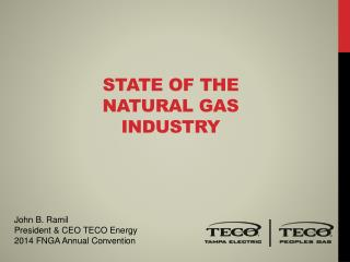 STATE of THE  Natural gas  inDUSTRY