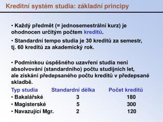 Kreditní systém studia: základní principy