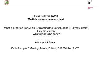 Activity 2.3 Team CarboEurope-IP Meeting, Posen, Poland, 7-12 Oktober, 2007