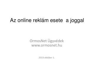 Az online reklám esete  a joggal