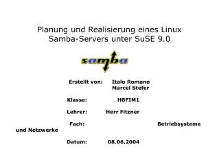 Planung und Realisierung eines Linux  Samba-Servers unter SuSE 9.0