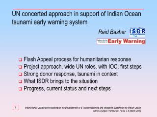 UN concerted approach in support of Indian Ocean tsunami early warning system