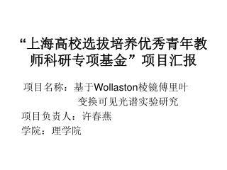 """"""" 上海高校选拔培养优秀青年教师科研专项基金""""项目汇报"""