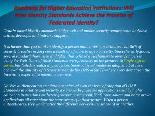 Roadmap for Higher Education Institutions: Will New Identity