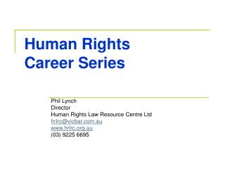 Human Rights Career Series