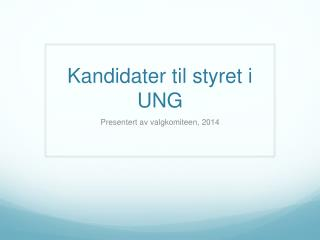 Kandidater til styret i UNG