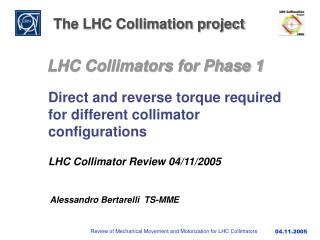 The LHC Collimation project