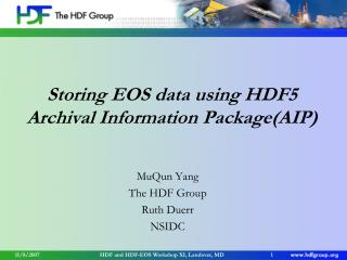 Storing EOS data using HDF5 Archival Information Package(AIP)