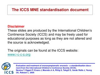 The ICCS MNE standardisation document