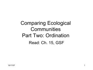 Comparing Ecological Communities Part Two: Ordination