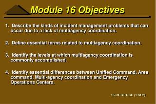 Module 16 Objectives