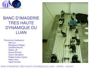 BANC D'IMAGERIE TRES HAUTE DYNAMIQUE DU LUAN – ASHRA – 25/04/07
