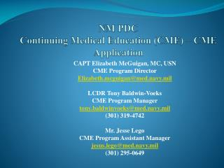 NM PDC Continuing Medical Education (CME) – CME Application