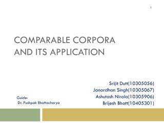 Comparable corpora and its application