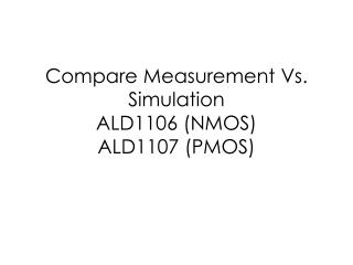 Compare Measurement Vs. Simulation ALD1106 (NMOS) ALD1107 (PMOS)