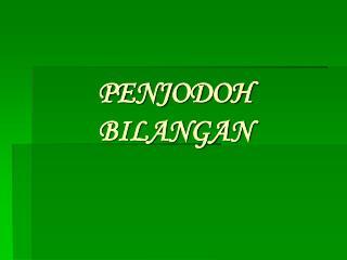 PENJODOH BILANGAN