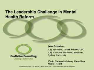 The Leadership Challenge in Mental Health Reform