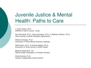 Juvenile Justice & Mental Health: Paths to Care